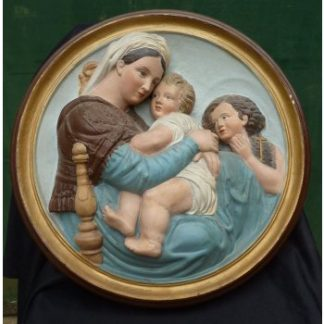 Roundel Plaque of Madonna and Child with John from Bristol