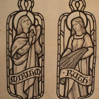 Original Stained Glass Window Cartoon Miriam and Ruth