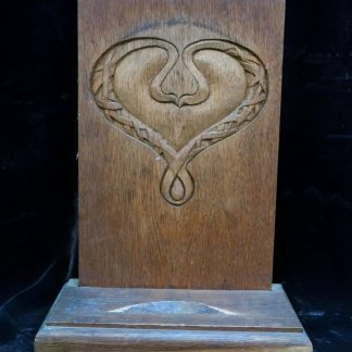 Oak Communion Plate Holder with Carved Celtic Motif