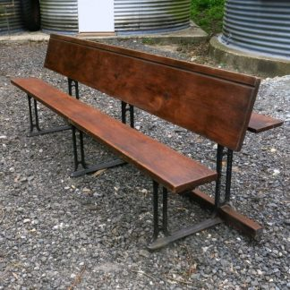 Antique Welsh Long Metamorphic Pitch Pine and Iron Bench Desk