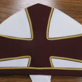 Bishops Mitre White & Burgundy Cross Gold Piping