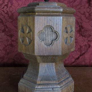Portable Octagnol Oak And Copper Simple Gothic Table Font