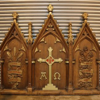 Stunning Antique Gothic Carved Oak Church Reredos Panel