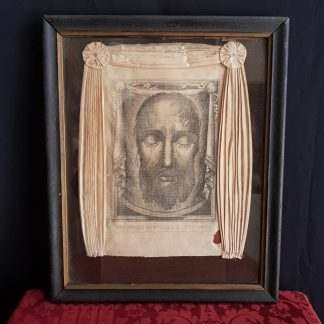 Rare and Unusual Antique Linen 'Shroud' Print of the Dead Christs Face