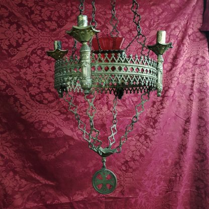 French Gothic Brass Sanctuary Lamp with Red Candleholder