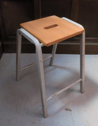 Retro Beech and steel 1960s Science Lab Stacking Stools