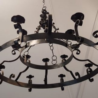 Very Large Medieval Style Hoop Iron Baronial Chandeliers Candlebras