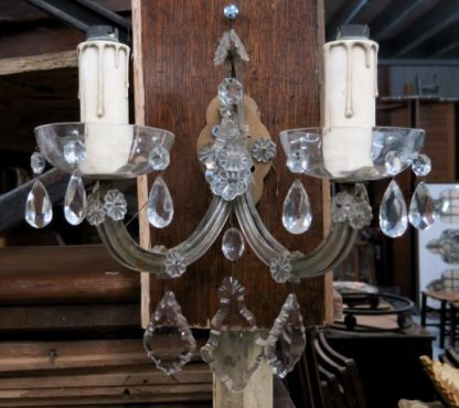 Vintage Ornate Cut Glass Wallmounted Two Branch Electric Chandelier