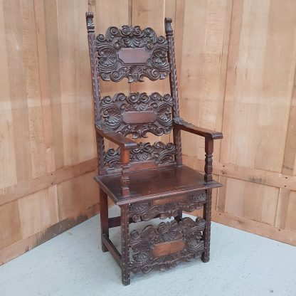 18th Century Carved Walnut Ecclesiastical Spanish Throne Chair