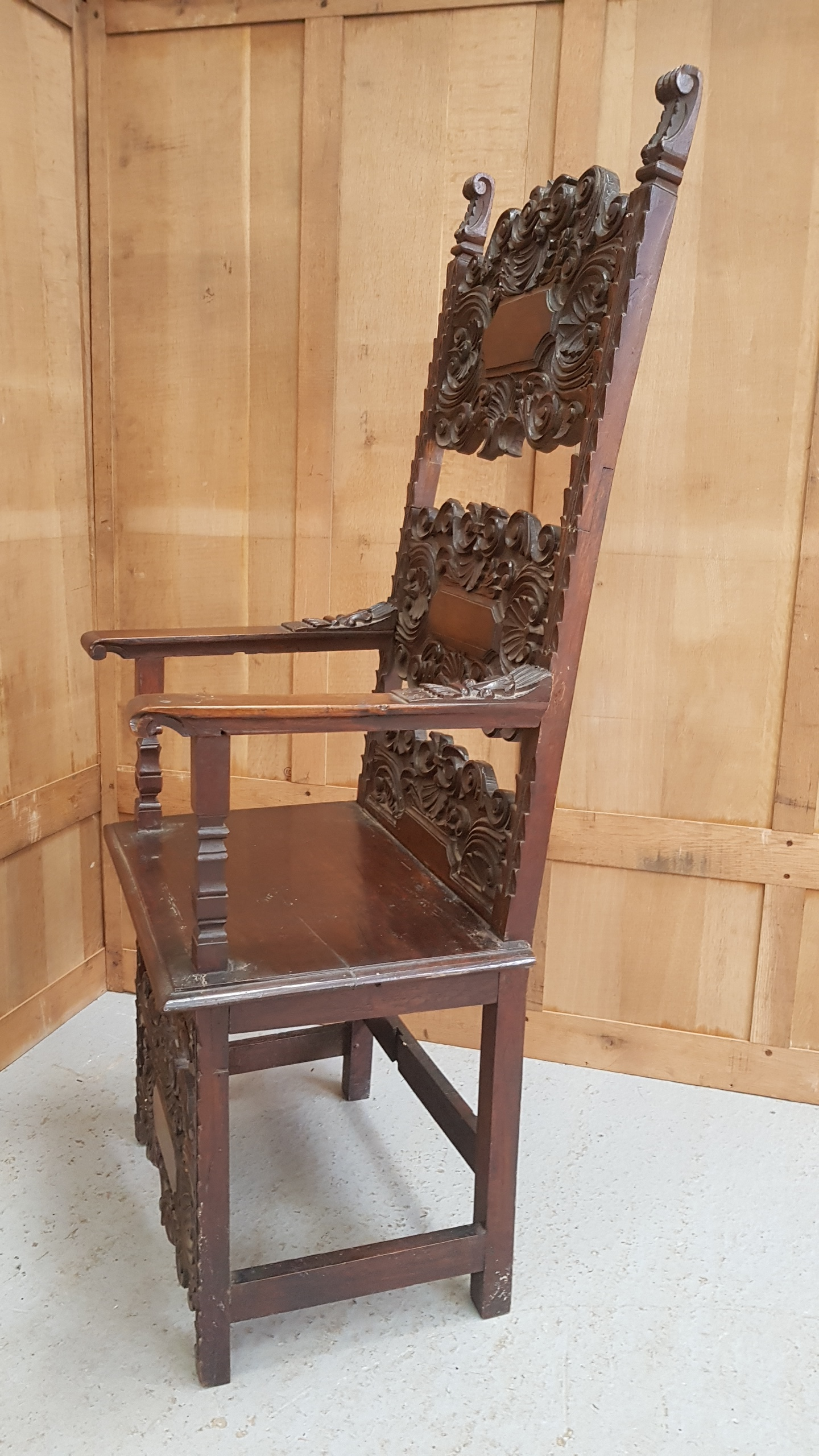 Carved Walnut Ecclesiastical Spanish Throne Chair