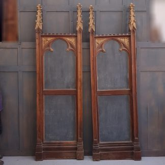 Gothic Carved Oak and Metal Reredos Side Panels