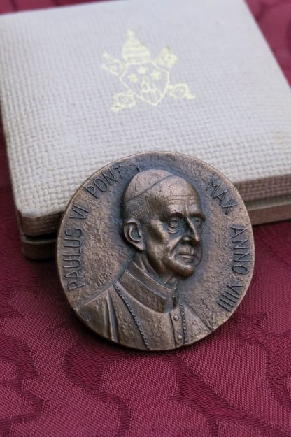 Bronze Papal Medal of Paul V1 from his 8th Year as Pope, 1970