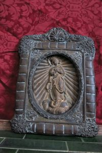 Unusual and Mysterious Bronze & Brass Devotional Wall Hanging of the Immaculate Conception