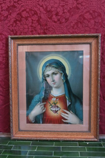 Beautiful Antique Polish Colour Print of Our Lady Sacred Heart