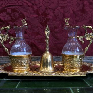 Fabulous Antique Top End Gilt Gold Plated Altar Cruet Set with Sacring Bell