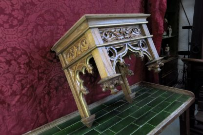 Gothic Antique Carved Oak Statue Canopy/Stand