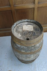 Vintage Oak French Wine Barrel with Six Metal Hoops