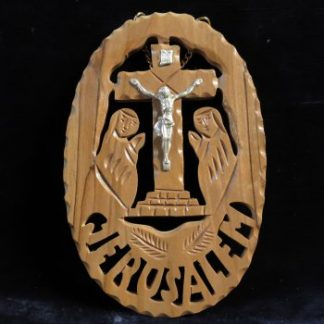 Crucifix Plaque Holy Land Souvenir Carved Olive Wood