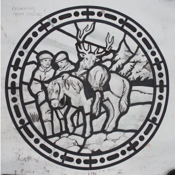 Original Stained Glass Window Cartoon Returning From Deer Stalking Roundel