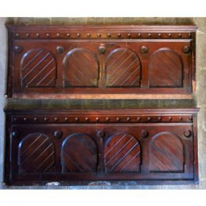 Pair of Impressive and Heavy Victorian Arched Decorative Pitch Pine Choir Panels