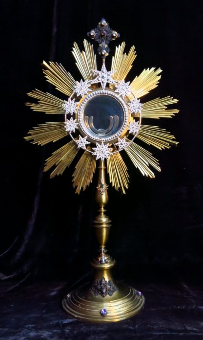 Spectacular and Unrestrained Antique French Monstrance With Stones
