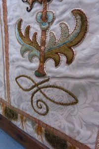 Altar Frontal in Cream & Damask Silk with Gold & Green Embroidery
