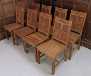 Classic Antique Oak Simple Gothic set of 7 Ministers Chairs From Muswell Hill URC