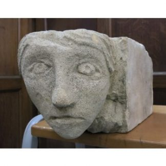 Stone Gargoyle Keystone in the Style of a Medieval Woman