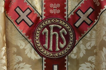 Beautiful Cloth of Gold With Gold Braid IHS Chasuble