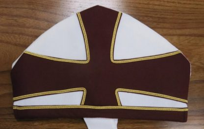 Bishops Mitre White and Burgundy Cross Gold Piping