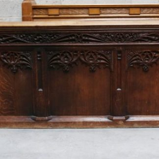 Pair of Highly Carved Solid Oak Gothic Choir Fronts / Panels / Panelling from Preston