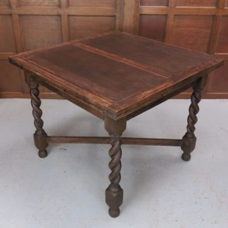 Standard Dark 1930's X Frame Barley Twist Leg Draw Leaf Table