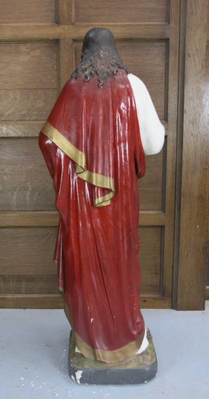 Early 1900's Large English Sacred Heart Jesus Statue