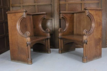 Pair Of Grand Victorian Oak Clergy Thrones With Gothic Elements