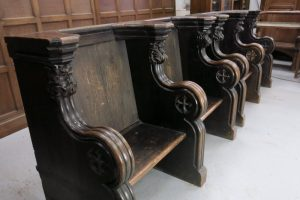 Very Grand And Outsize Two Seater Antique Choir Pews Misericords In Baltic Pine