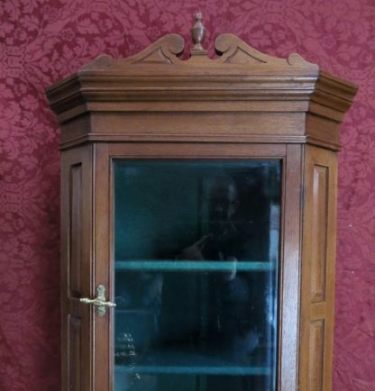 Highly Restored Victorian Oak Corner Cupboard with Green Baize Interior