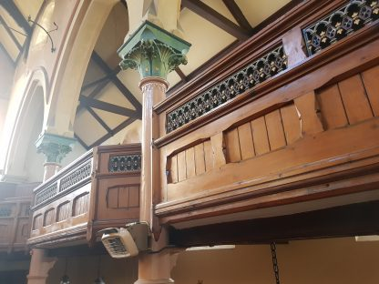 Shrewsbury Gallery Fronts Long Run of Ornate Pine and Cast Iron Balcony Frontage Panelling, 1868