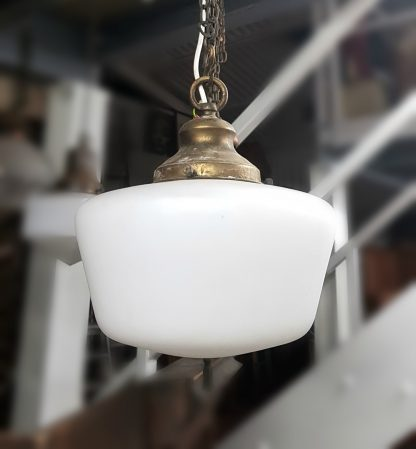 Classic 1930's White Opaque school-room lights with Brass Galleries, Chains and Ceiling Roses