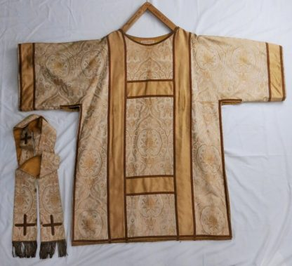 Gold and Yellow Dalmatic by Maurice Vapoulles with Matching Gold Braided Stole