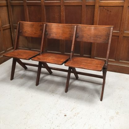 Oak 1930's Classic Folding Benches 3 Seater from St Alban's, Swaythling