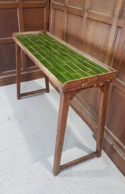 Unusual and Pretty Vintage Green Tile Serving Hall Table