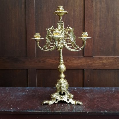 Elaborate and Heavy Solid Brass Five Branch Altar Chandelier