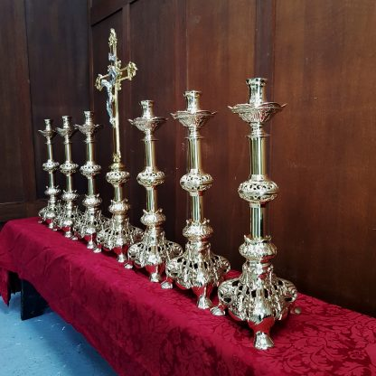 Highly Ornate Angel Base Solid Brass Big Six Candlesticks