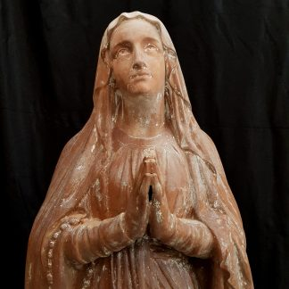 Terracotta Outdoor or Indoor Large Antique Lady of Lourdes Statue