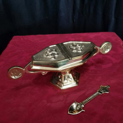 Heavy Brass Ornate Incense Boat and Spoon