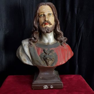 Antique French Bust of Jesus Christ with Sacred Heart