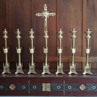 Highly Polished Solid Brass Gothic Altar Set Big Six and Crucifix