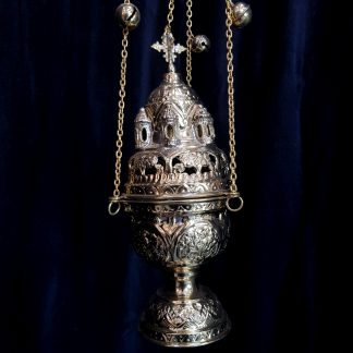 Brass Thurible Censer Byzantine Styled with Bells