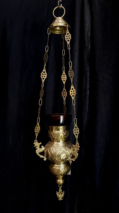 Brass Sanctuary Lamp Highly Polished With Phoenix Chain Holders
