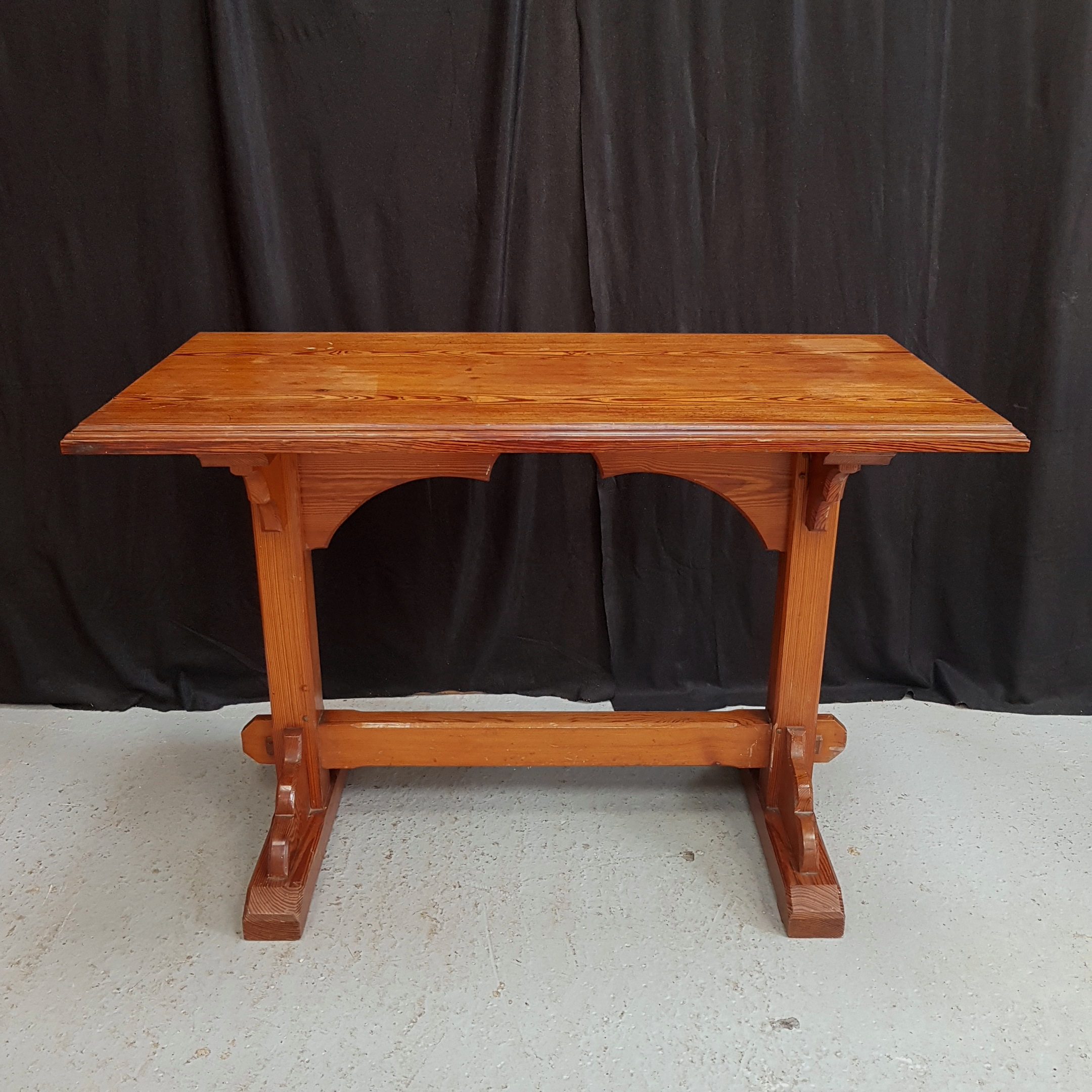 heavy gothic beautiful pitch pine communion table - antique church